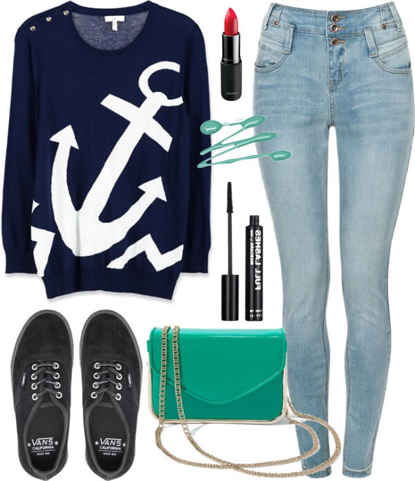 Navy Blue top with light jeans
