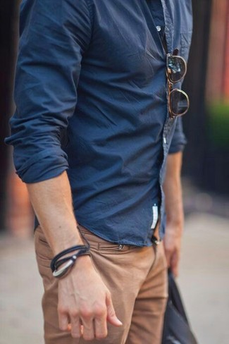 Navy Blue Shirt with Khaki Chinos