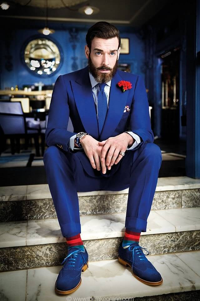 Royal Blue suits with Contrast elements