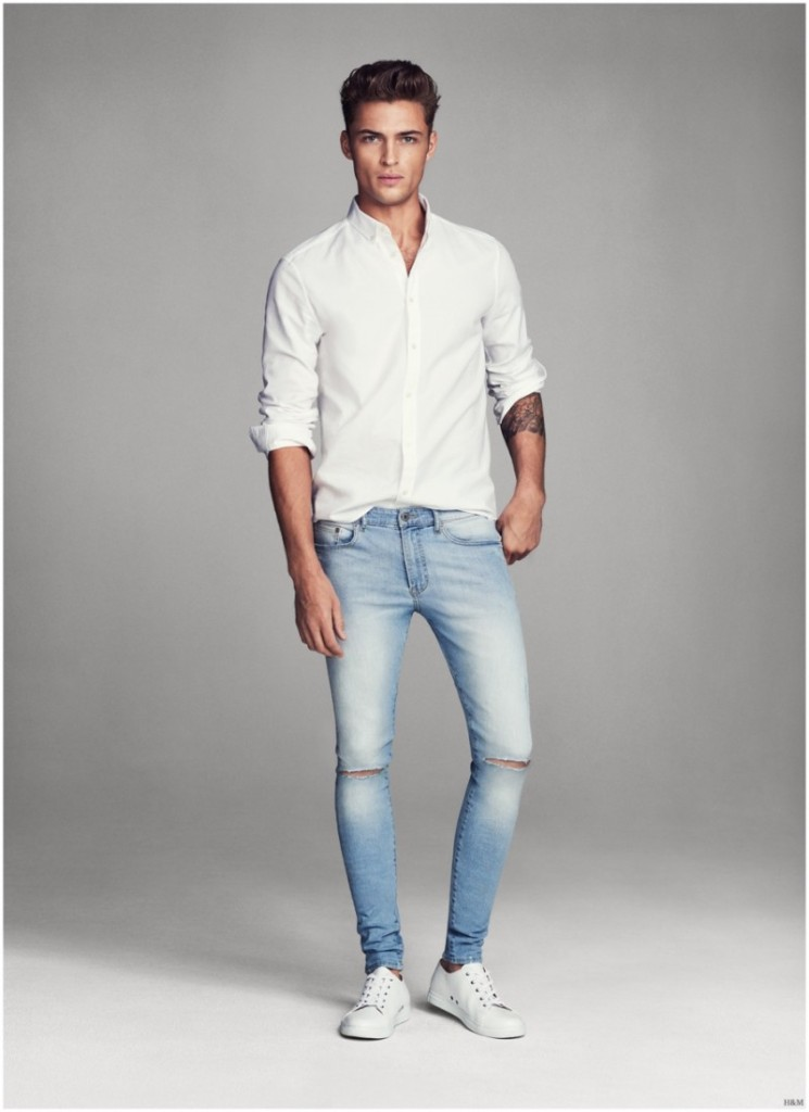 White Shirt with Blue Denim