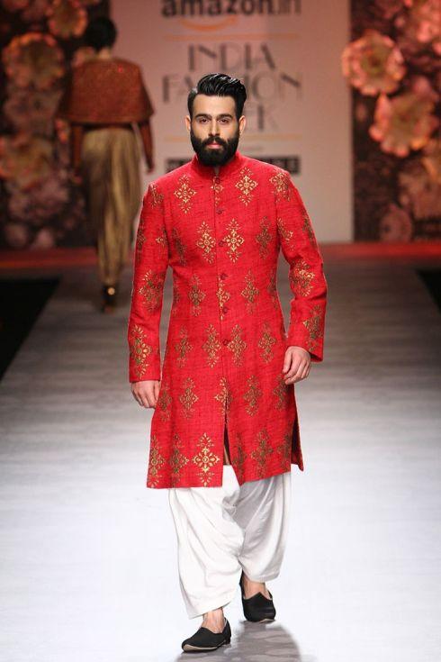 Art Silk Sherwani with Contrast Dhoti pants