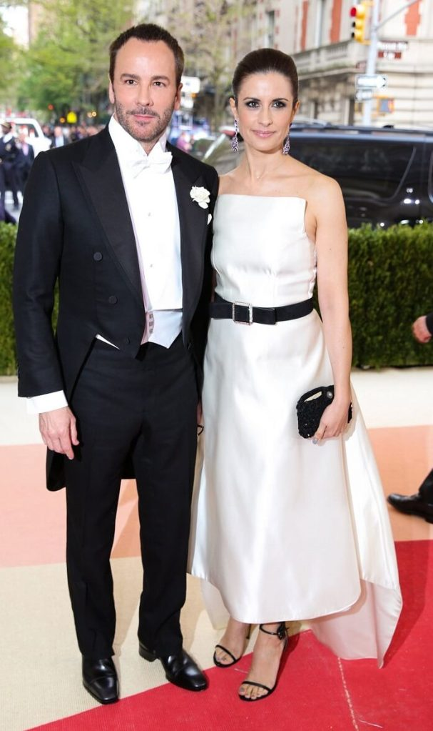 Tom ford in his own creation with Livia Firth in a Henrietta Ludgate dress & Chopard Jewelry