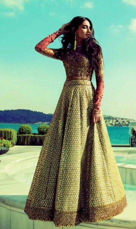 Full Sleeves A-line Lehenga-Gowns